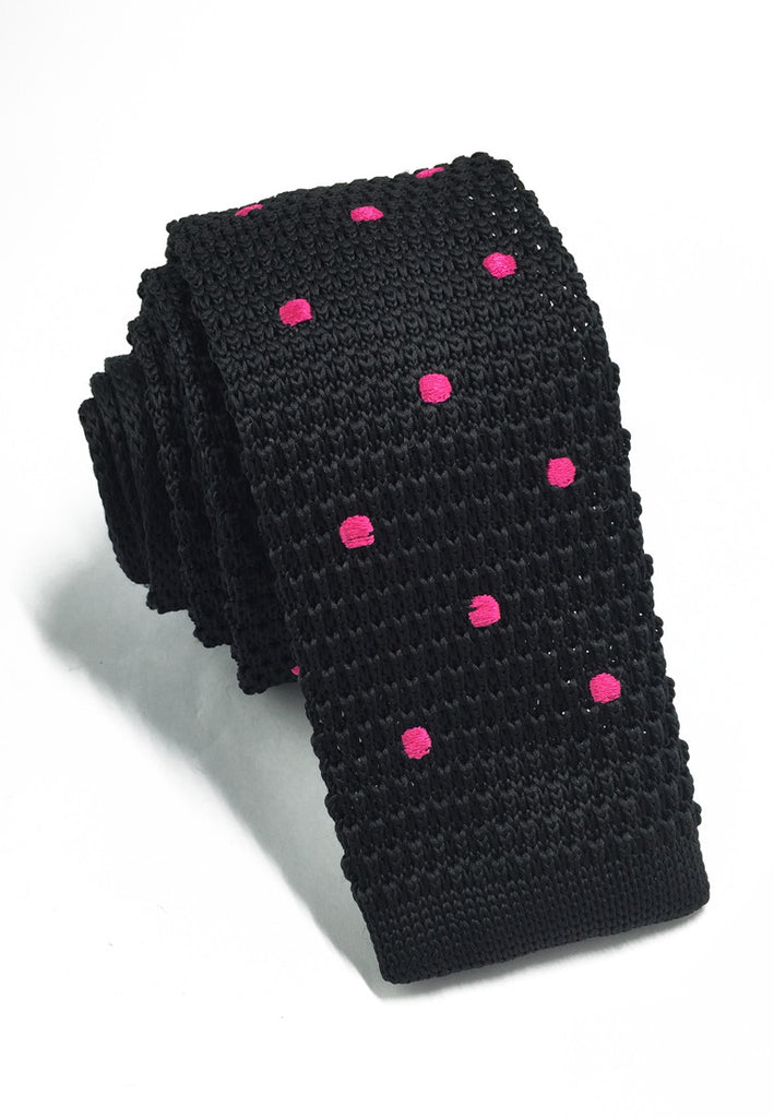 Weave Series Bright Pink Polka Dots Black Knitted Tie