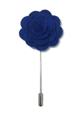 Blue Classic Camellia Fabric Flower Lapel Pin