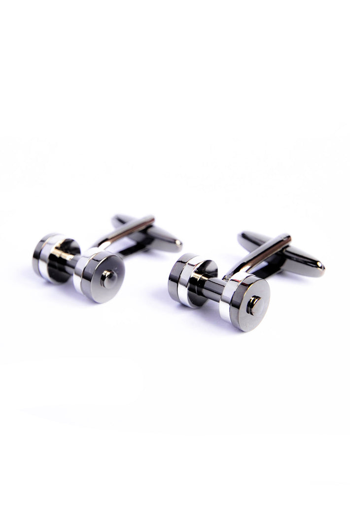 Gunmetal Two Tone Weight Lifters Cufflinks