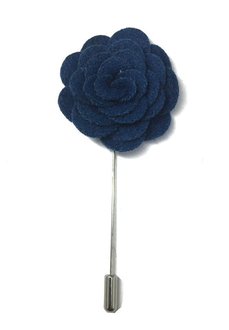 Sapphire Blue Classic Camellia Fabric Flower Lapel Pin