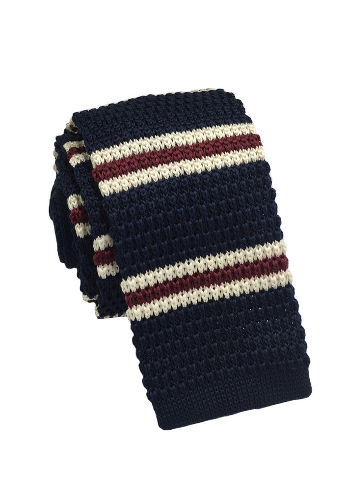 Purl Series Red & White Stripes Navy Blue Knitted Tie