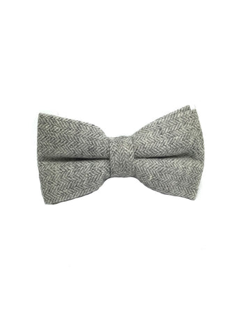 Dolly Series Whitish Grey Wool Pre-tied Bow Tie