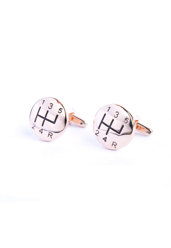 Rose Gold Gear Stick Cufflinks