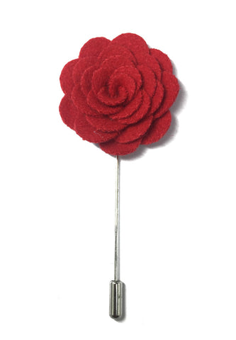 Red Classic Camellia Fabric Flower Lapel Pin