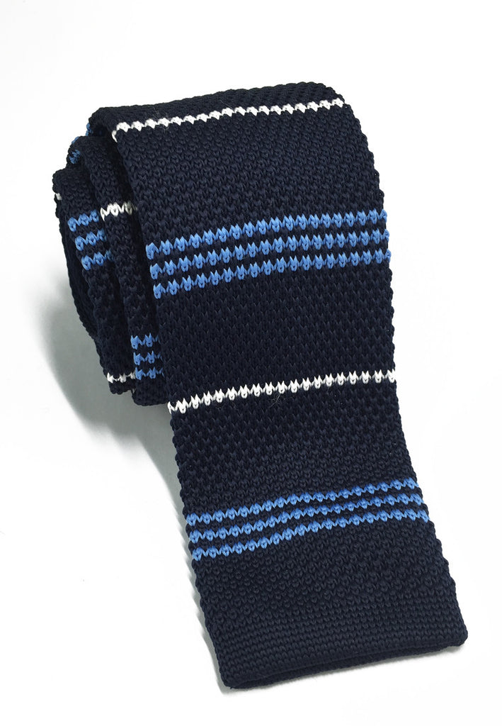 Purl Series Baby Blue & White Stripes Navy Blue Knitted Tie