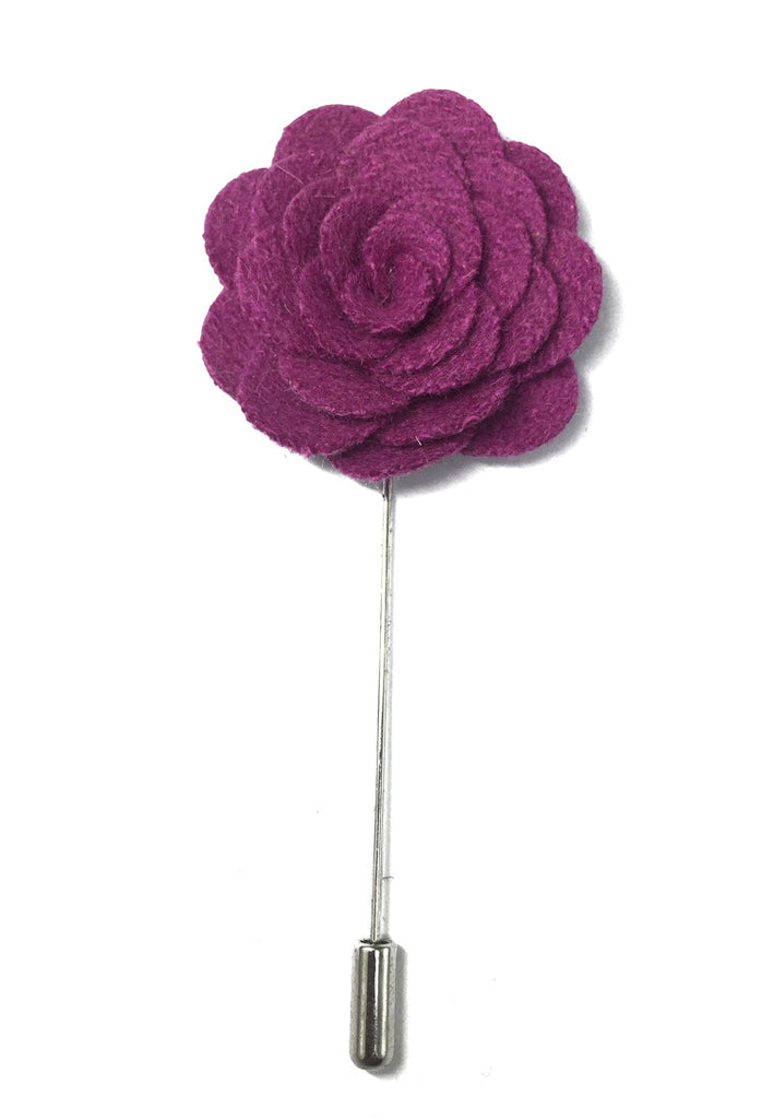 Violet Classic Camellia Fabric Flower Lapel Pin