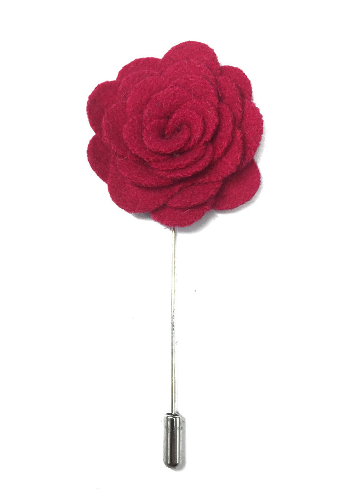 Bright Pink Classic Camellia Fabric Flower Lapel Pin