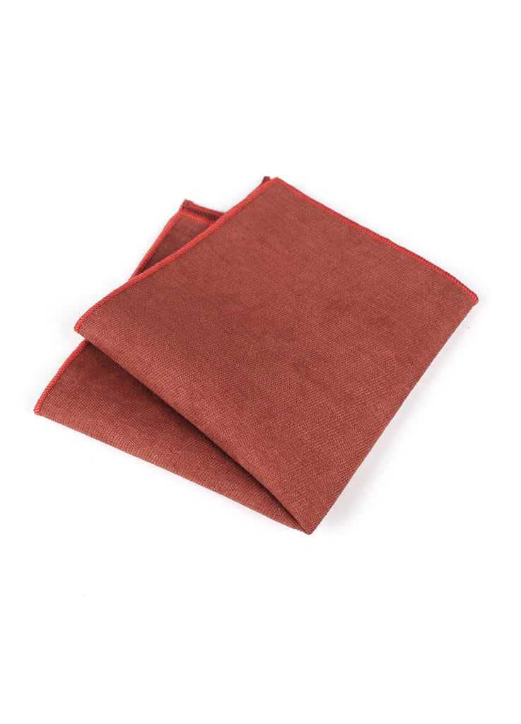 Suede Series Reddish Orange Pocket Square