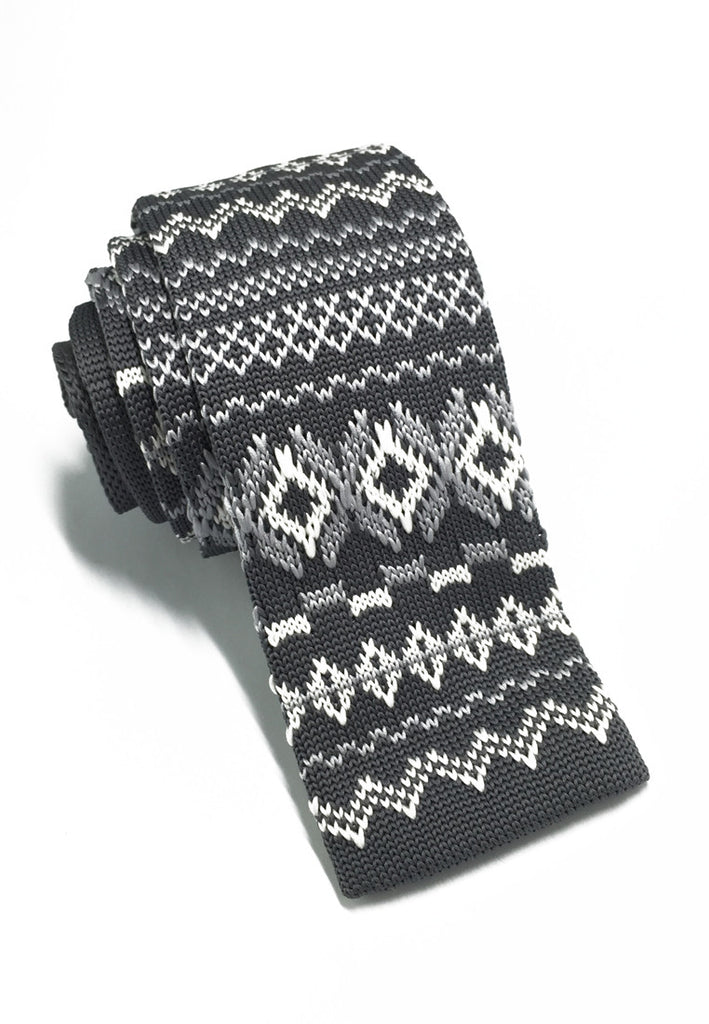 Stencil Series Patterned Grey Knitted Tie