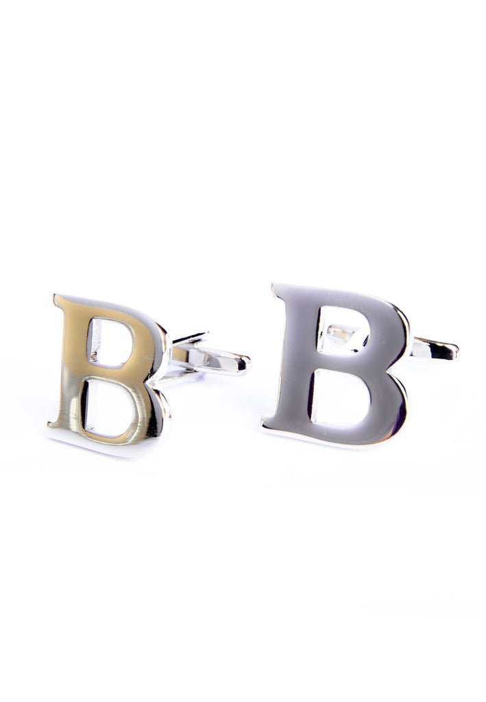 Monogram Alphabet Rhodium Plated Cufflinks - B