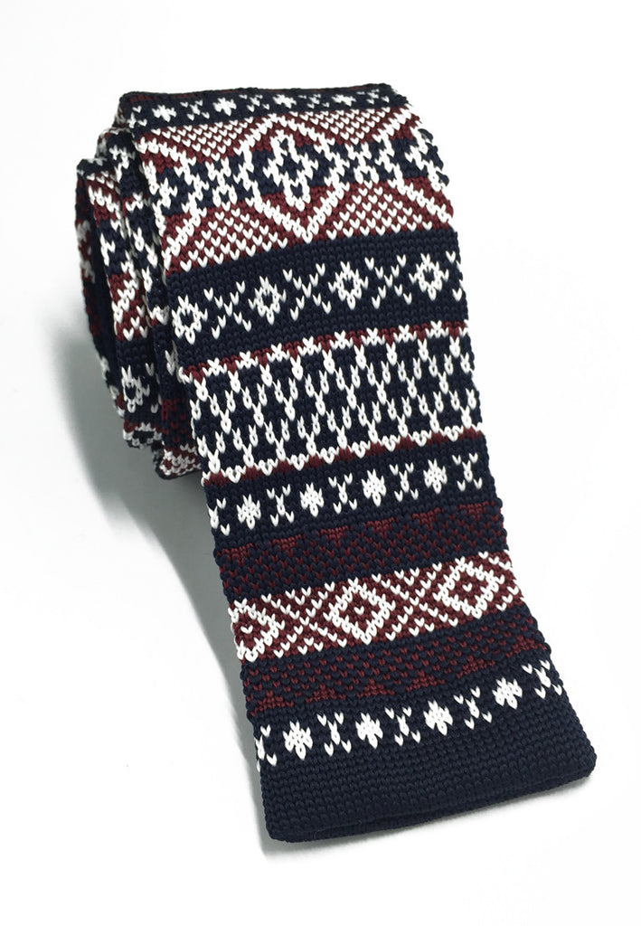 Stencil Series Maroon & White Patterned Navy Blue Knitted Tie