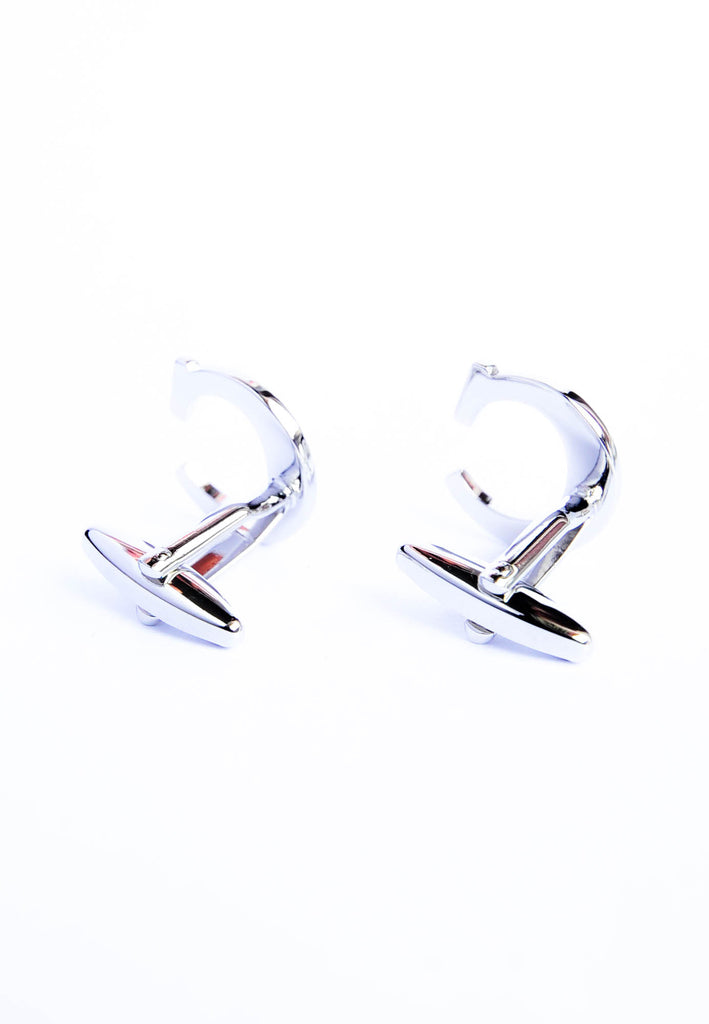 Monogram Alphabet Rhodium Plated Cufflinks - C