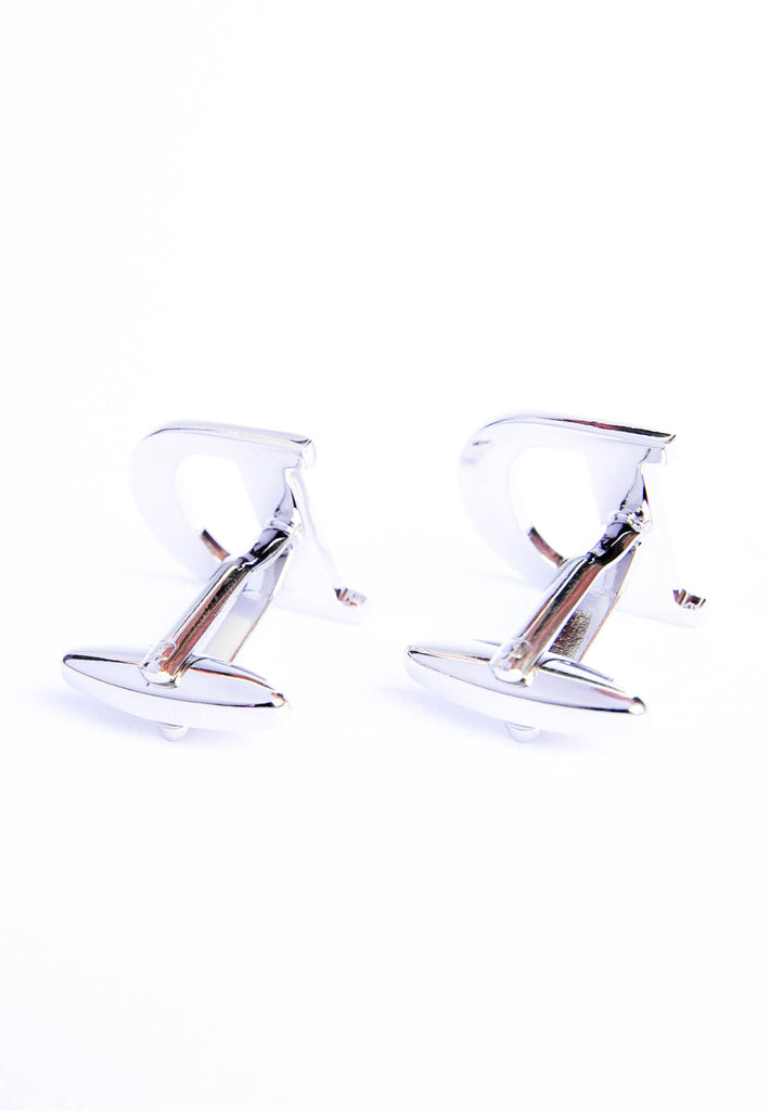 Monogram Alphabet Rhodium Plated Cufflinks - D