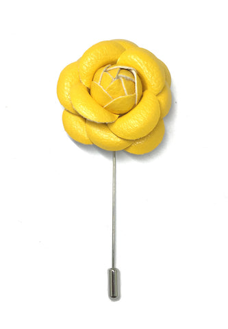 Yellow PU Leather Camellia Flower Lapel Pin