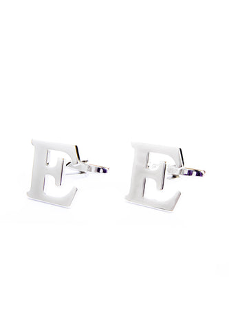 Monogram Alphabet Rhodium Plated Cufflinks - E