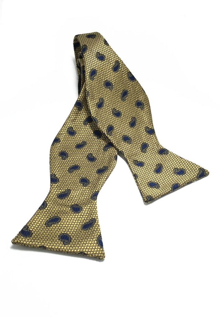 Manual Series Blue Big Droplets Design Gold Self-tied Man Made Silk Bow Tie