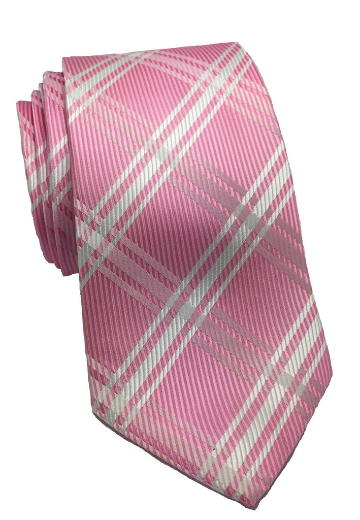 Checkerboard Series Pink Checked Design Polyester Tie