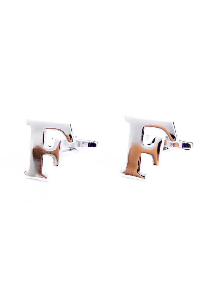 Monogram Alphabet Rhodium Plated Cufflinks - F