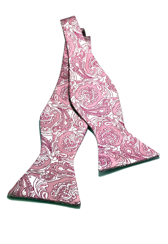 Manual Series Light Pink Patterned Self-tied Man Made Silk Bow Tie