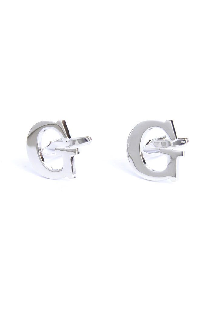 Monogram Alphabet Rhodium Plated Cufflinks - G