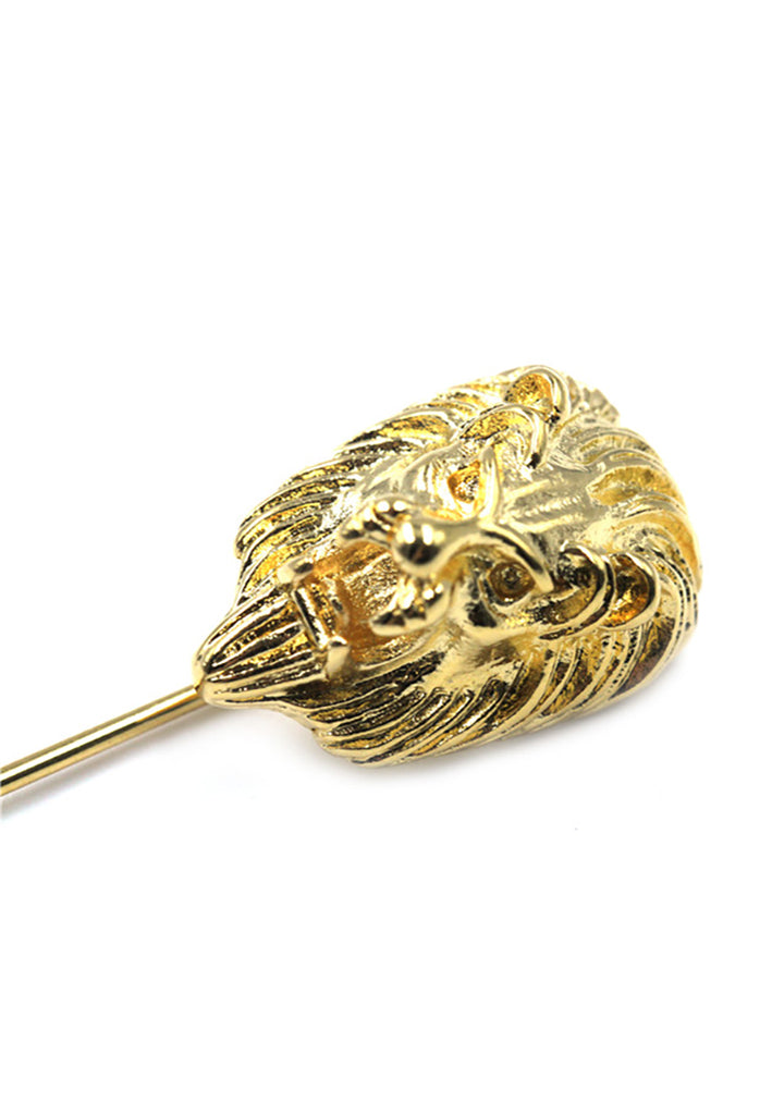 Gold Lion Head Lapel Pin 2