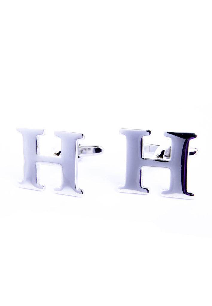 Monogram Alphabet Rhodium Plated Cufflinks - H