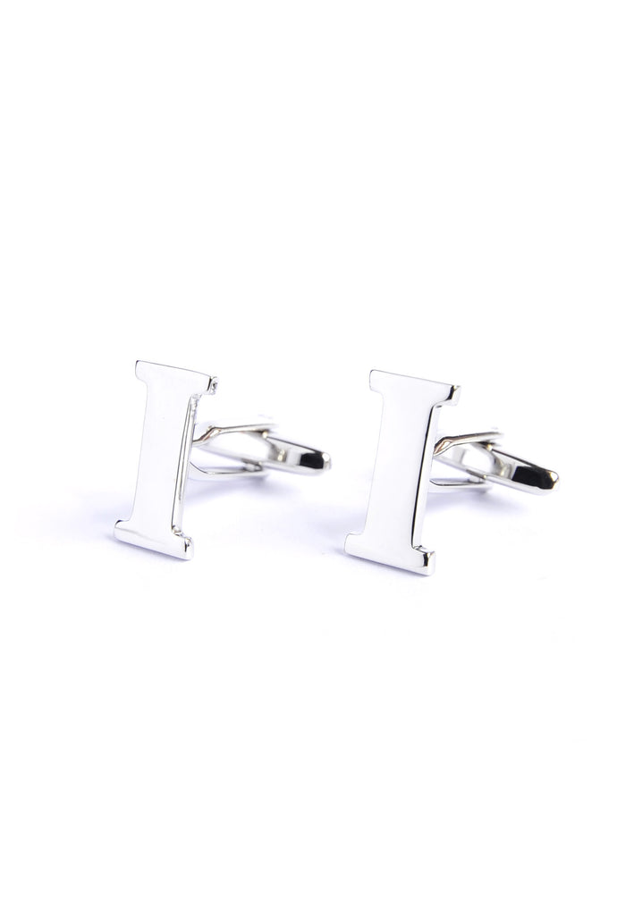 Monogram Alphabet Rhodium Plated Cufflinks - I