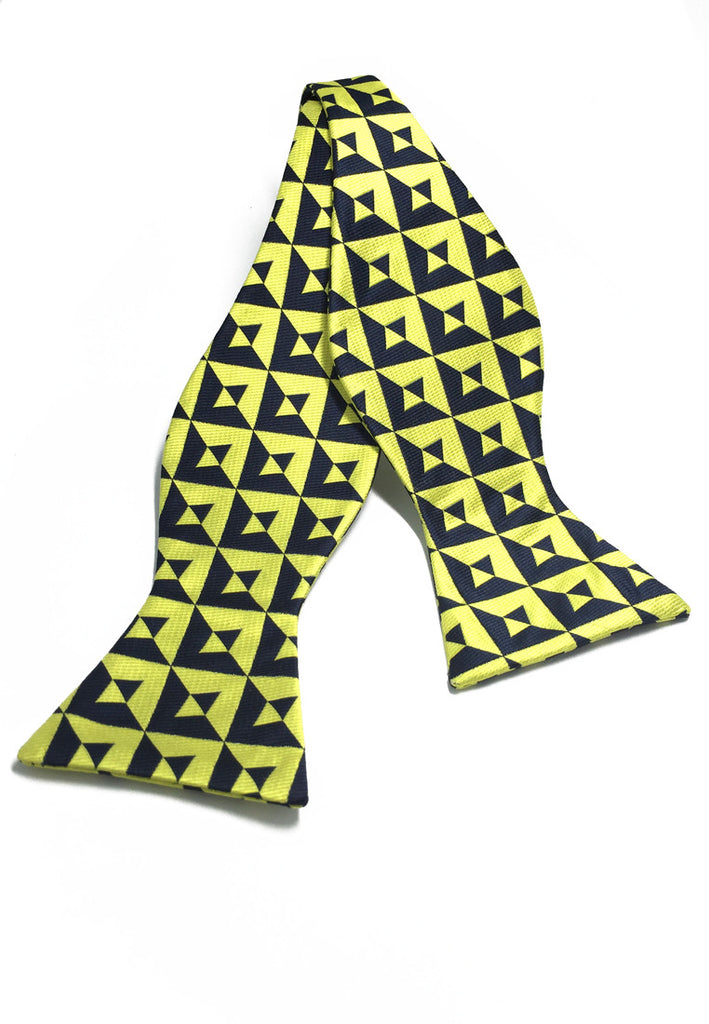 Manual Series Yellow & Black Patterned Self-tied Man Made Silk Bow Tie