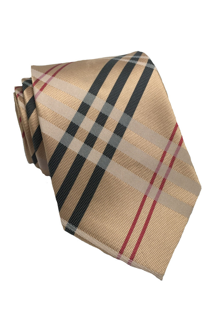 Checkerboard Series Rose Gold Checked Design Polyester Tie
