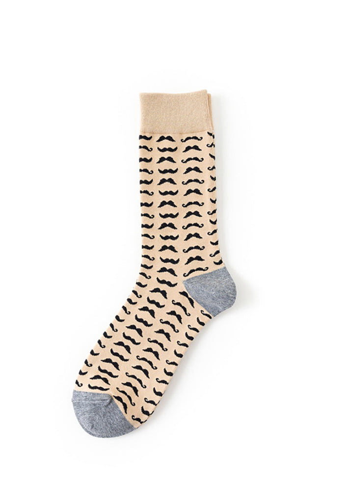 Tron Series Brown And Black Moustache Pattern Socks