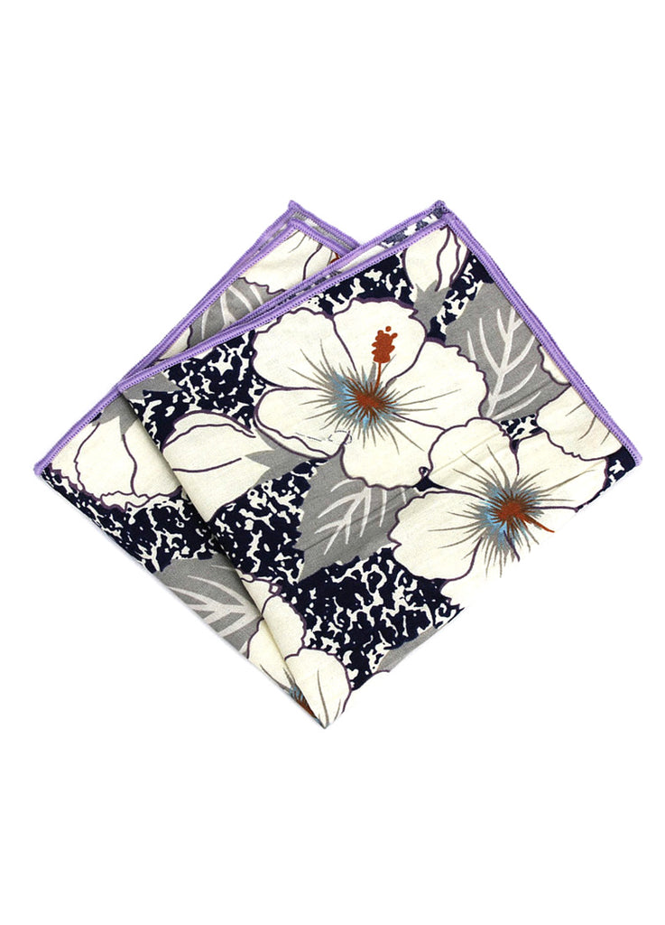 Florid Series Flowery Pattern Purple Pocket Square