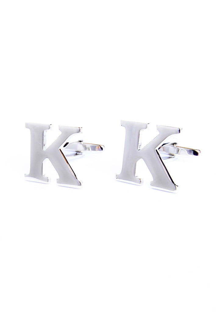 Monogram Alphabet Rhodium Plated Cufflinks - K