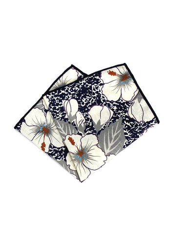 Florid Series Flowery Pattern Dark Blue Pocket Square