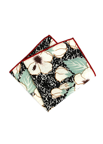 Florid Series Flowery Pattern Black Pocket Square with Red Linings