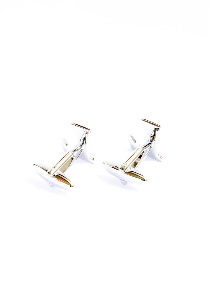 Monogram Alphabet Rhodium Plated Cufflinks - L