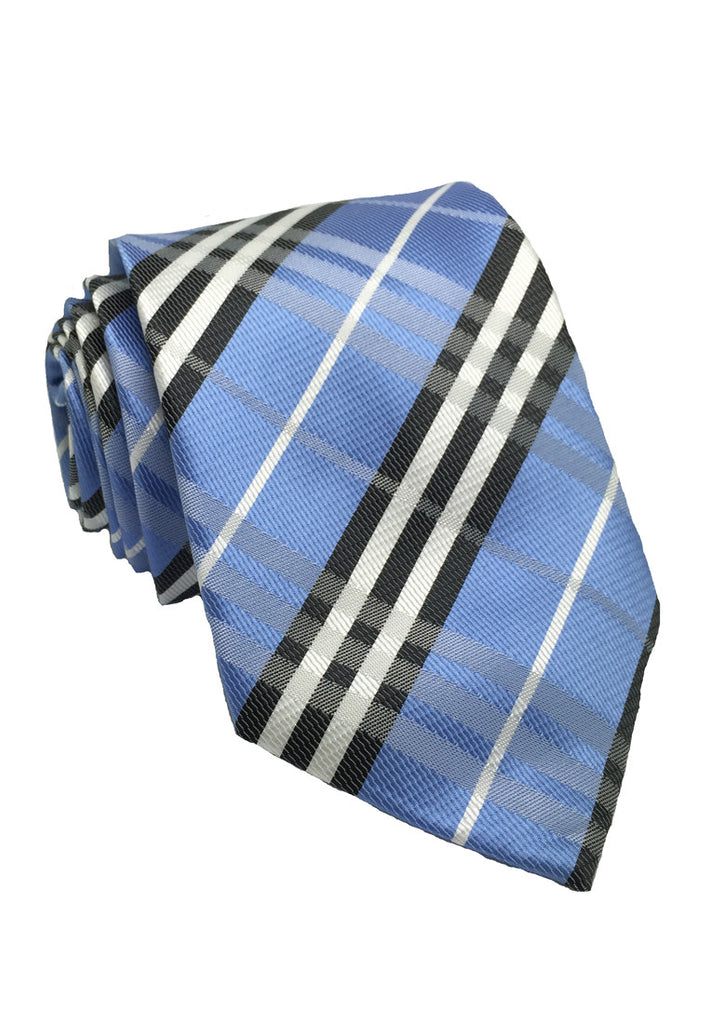 Checkerboard Series Blue Checked Design Polyester Tie