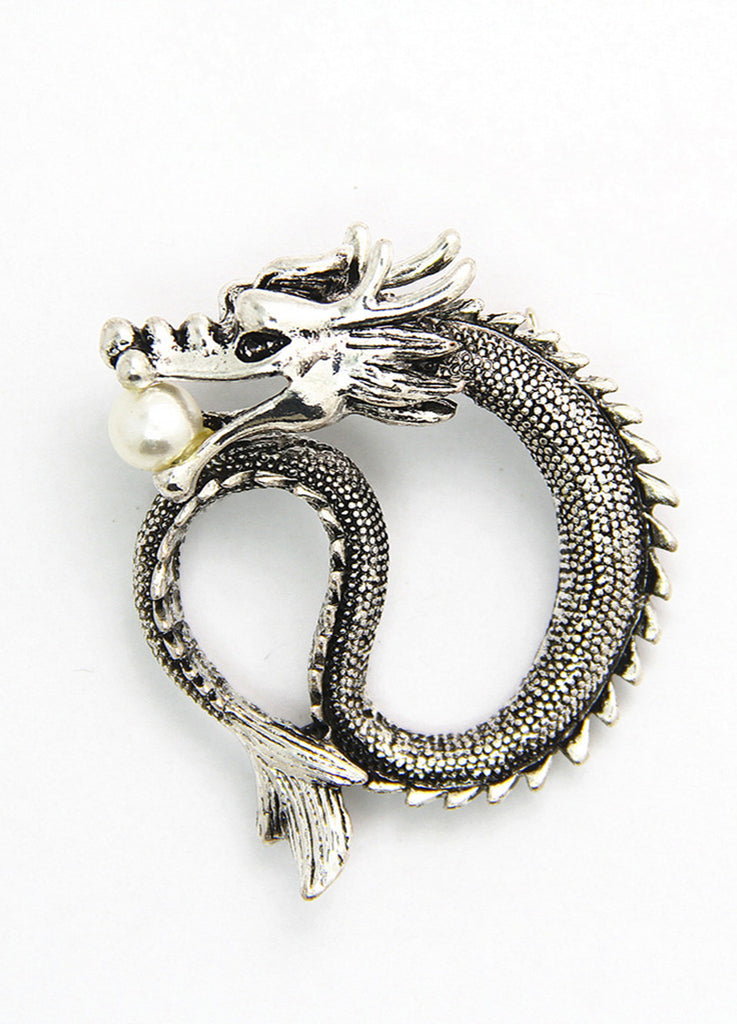 Silver Chinese Dragon Lapel Pin