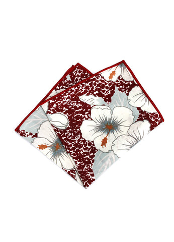 Florid Series Flowery Pattern Red Pocket Square