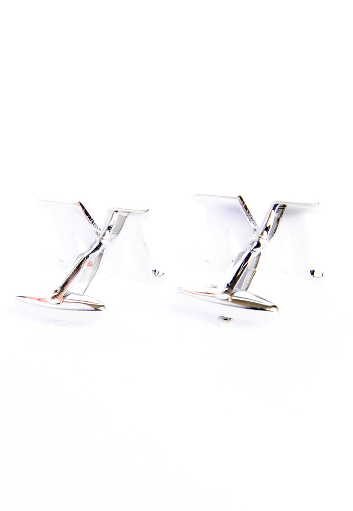 Monogram Alphabet Rhodium Plated Cufflinks - M
