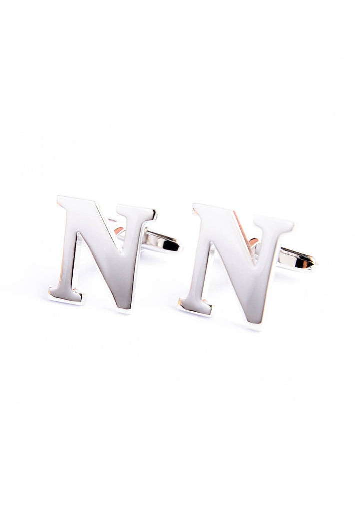 Monogram Alphabet Rhodium Plated Cufflinks - N