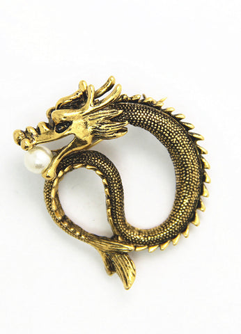 Gold Chinese Dragon Lapel Pin 2