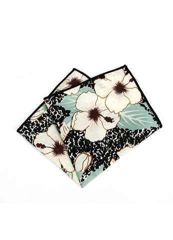 Florid Series Flowery Pattern Black Pocket Square