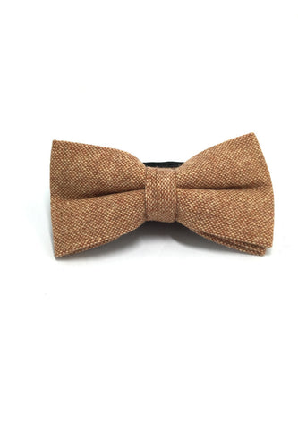 Dolly Series Apricot Brown Wool Pre-tied Bow Tie