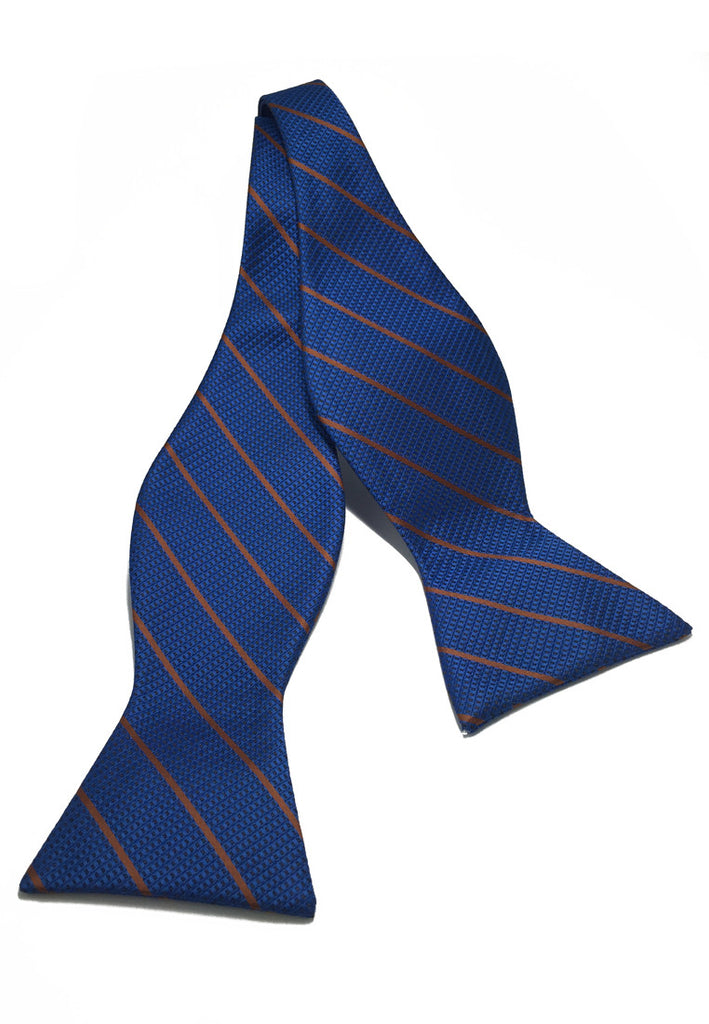 Manual Series Brown Stripes Blue Self-tied Man Made Silk Bow Tie