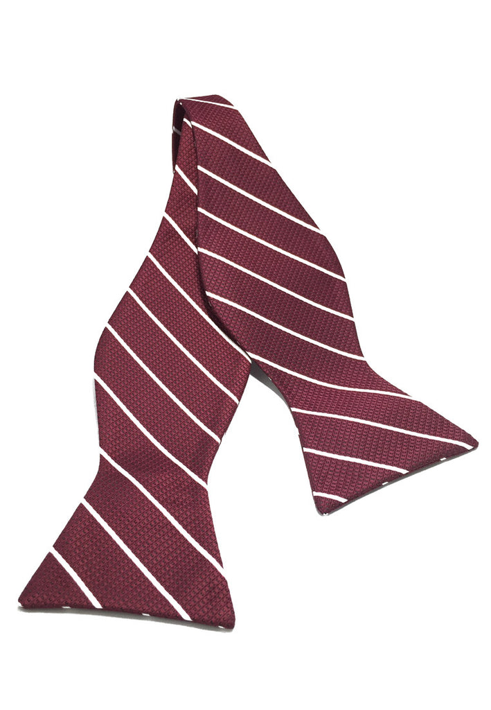 Manual Series White Stripes Maroon Self-tied Man Made Silk Bow Tie