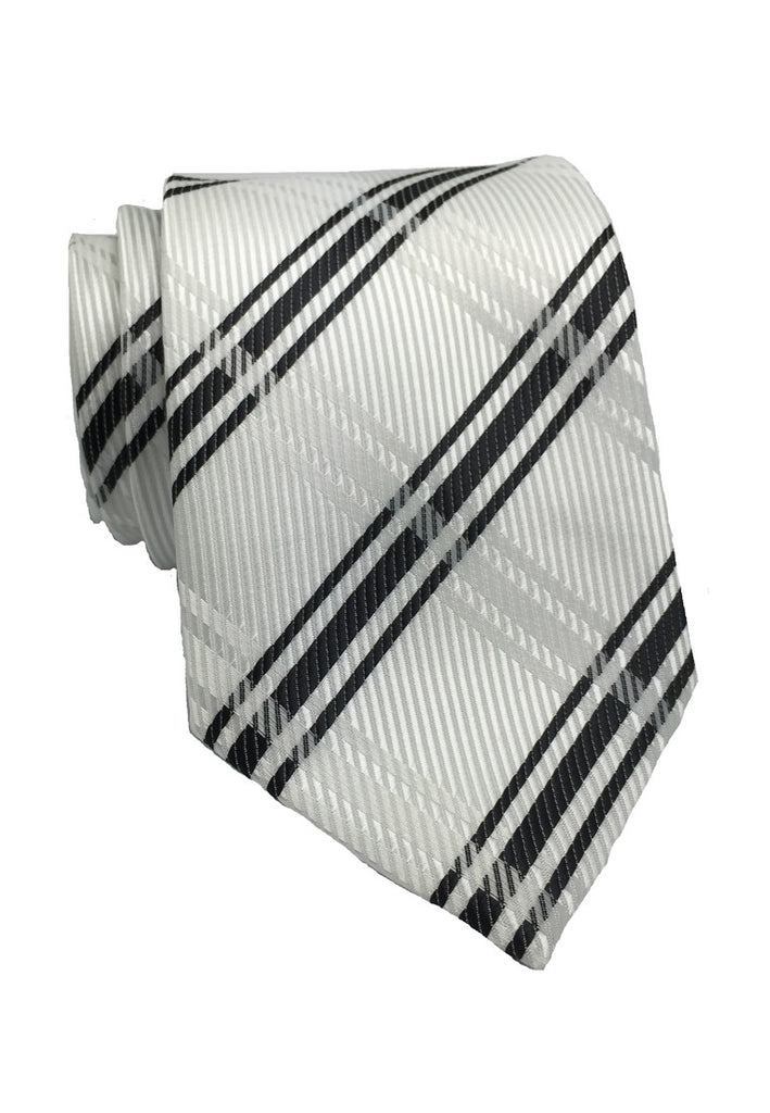 Checkerboard Series White Checked Design Silk Tie