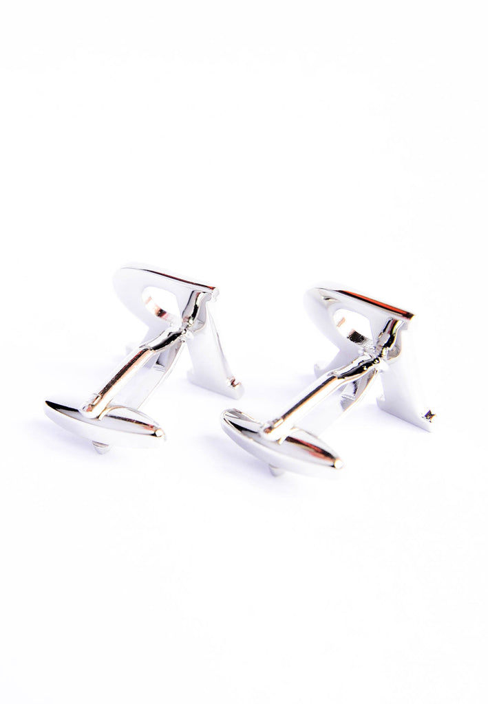 Monogram Alphabet Rhodium Plated Cufflinks - R