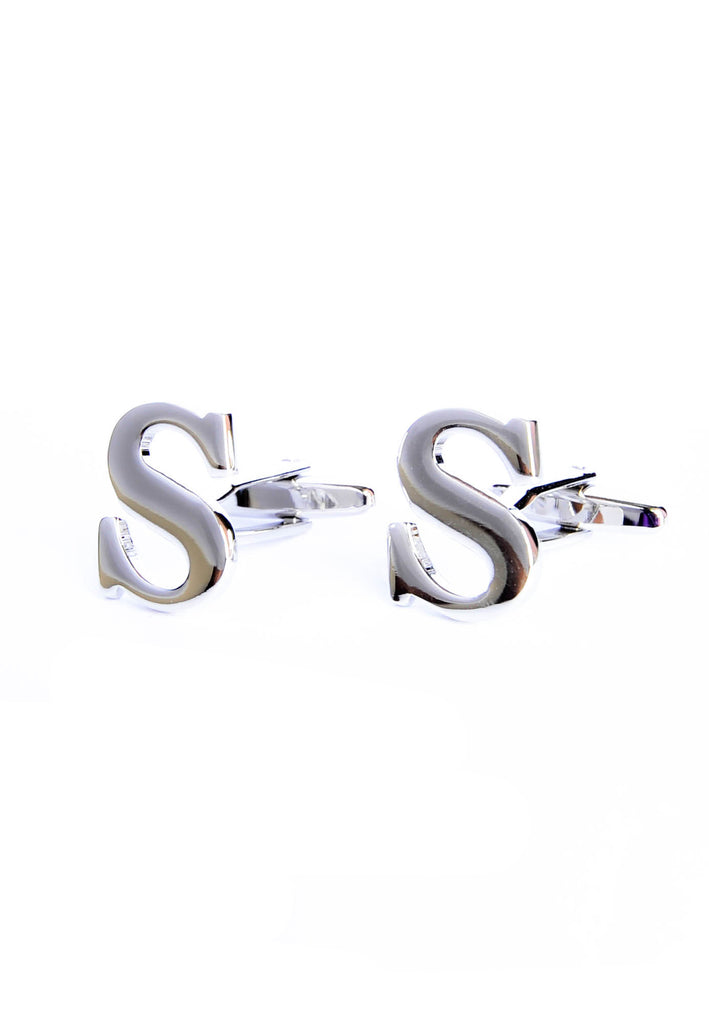Monogram Alphabet Rhodium Plated Cufflinks - S
