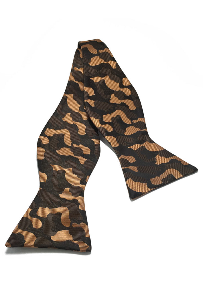 Manual Series Brown Army Camouflage Design Self-tied Man Made Silk Bow Tie