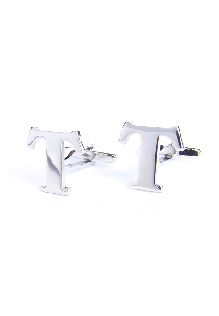 Monogram Alphabet Rhodium Plated Cufflinks - T